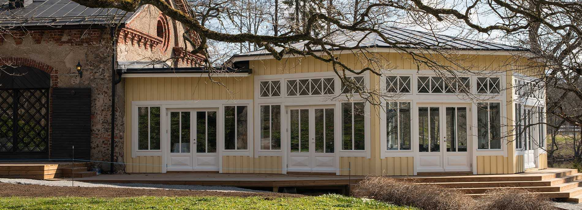 Svartå Manor's new pavilion opened in May 2017. The pavilion has room for 110 guests and can be used for weddings, parties and conferences.